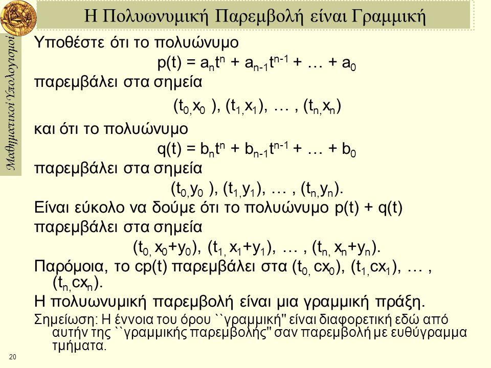 Μαθηματικοί Υπολογισμοί 20 Η Πολυωνυμική Παρεμβολή είναι Γραμμική Υποθέστε ότι το πολυώνυμο p(t) = a n t n + a n-1 t n-1 + … + a 0 παρεμβάλει στα σημεία (t 0, x 0 ), (t 1, x 1 ), …, (t n, x n ) και ότι το πολυώνυμο q(t) = b n t n + b n-1 t n-1 + … + b 0 παρεμβάλει στα σημεία (t 0, y 0 ), (t 1, y 1 ), …, (t n, y n ).