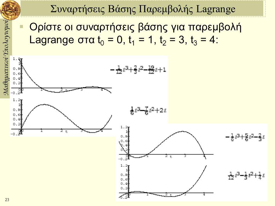 Μαθηματικοί Υπολογισμοί 23 Συναρτήσεις Βάσης Παρεμβολής Lagrange  Ορίστε οι συναρτήσεις βάσης για παρεμβολή Lagrange στα t 0 = 0, t 1 = 1, t 2 = 3, t 3 = 4: