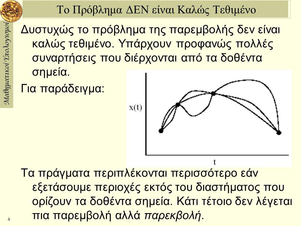 Μαθηματικοί Υπολογισμοί 4 Το Πρόβλημα ΔΕΝ είναι Καλώς Τεθιμένο Δυστυχώς το πρόβλημα της παρεμβολής δεν είναι καλώς τεθιμένο. Υπάρχουν προφανώς πολλές