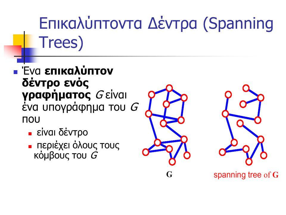 Επικαλύπτοντα Δέντρα (Spanning Trees) Ένα επικαλύπτον δέντρο ενός γραφήματος G είναι ένα υπογράφημα του G που είναι δέντρο περιέχει όλους τους κόμβους