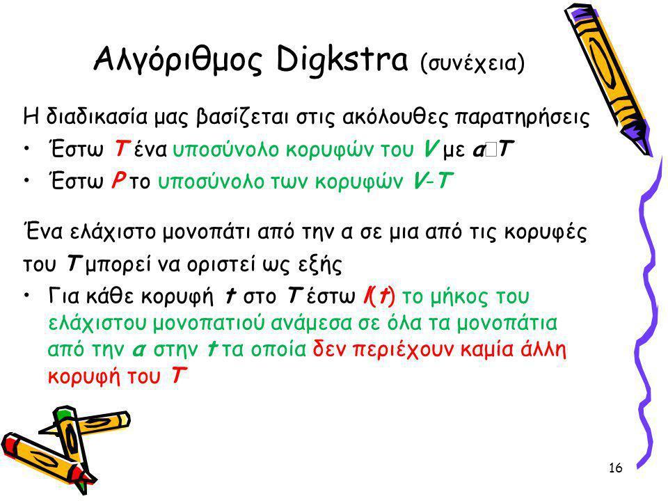 Αλγόριθμος Digkstra (συνέχεια) Η διαδικασία μας βασίζεται στις ακόλουθες παρατηρήσεις Έστω Τ ένα υποσύνολο κορυφών του V με α  Τ Έστω P το υποσύνολο των κορυφών V-T Ένα ελάχιστο μονοπάτι από την α σε μια από τις κορυφές του Τ μπορεί να οριστεί ως εξής Για κάθε κορυφή t στο T έστω l(t) το μήκος του ελάχιστου μονοπατιού ανάμεσα σε όλα τα μονοπάτια από την α στην t τα οποία δεν περιέχουν καμία άλλη κορυφή του Τ 16
