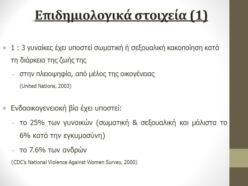 Επιδημιολογικά στοιχεία (1)  1 : 3 γυναίκες έχει υποστεί σωματική ή σεξουαλική κακοποίηση κατά τη διάρκεια της ζωής της − στην πλειοψηφία, από μέλος