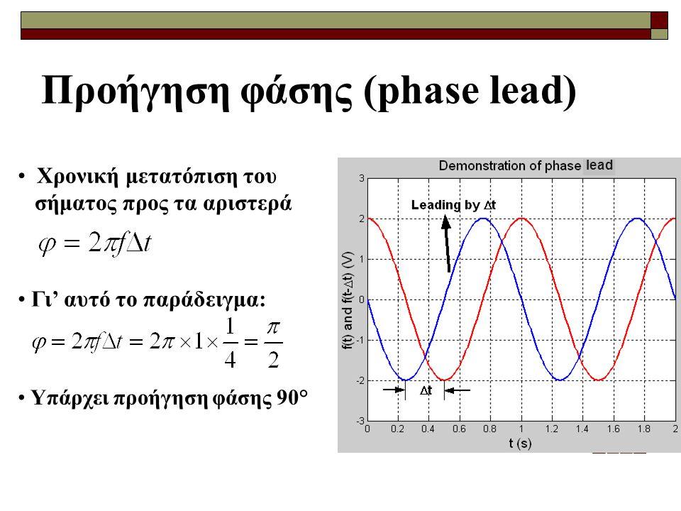 Προήγηση φάσης (phase lead) Χρονική μετατόπιση του σήματος προς τα αριστερά Γι' αυτό το παράδειγμα: Υπάρχει προήγηση φάσης 90° lead