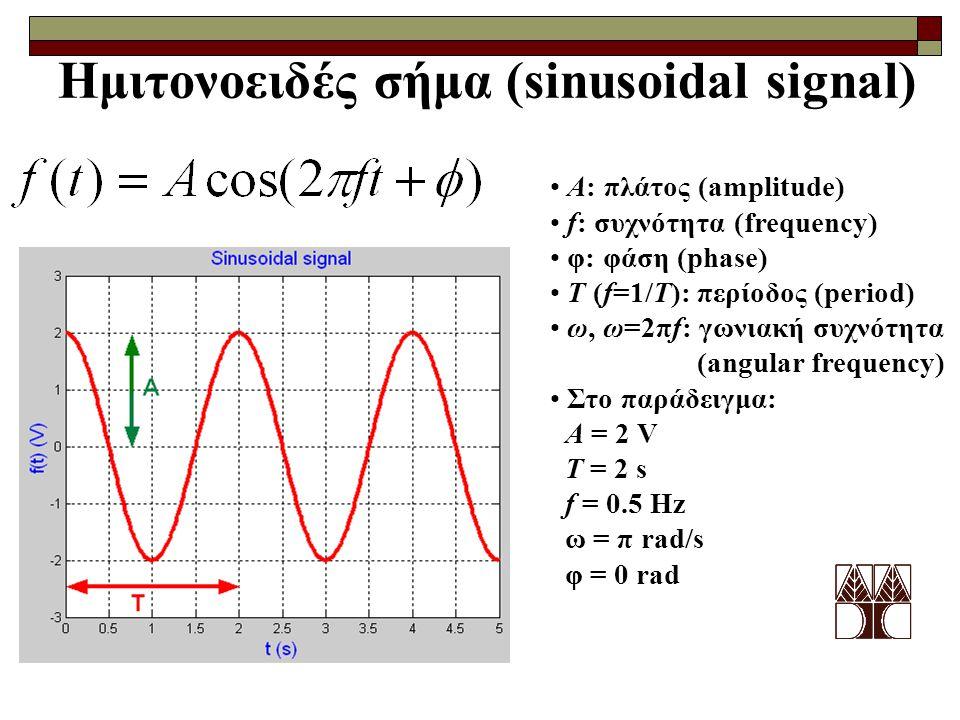 Ημιτονοειδές σήμα (sinusoidal signal) A: πλάτος (amplitude) f: συχνότητα (frequency) φ: φάση (phase) T (f=1/T): περίοδος (period) ω, ω=2πf: γωνιακή συ