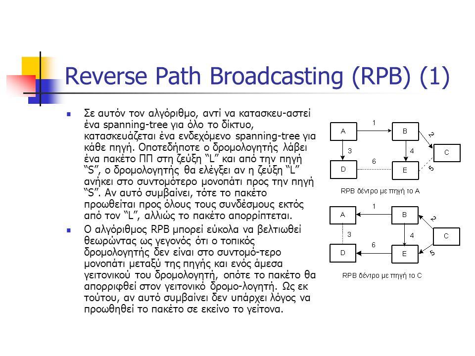 Reverse Path Broadcasting (RPB) (1) Σε αυτόν τον αλγόριθμο, αντί να κατασκευ-αστεί ένα spanning-tree για όλο το δίκτυο, κατασκευάζεται ένα ενδεχόμενο spanning-tree για κάθε πηγή.