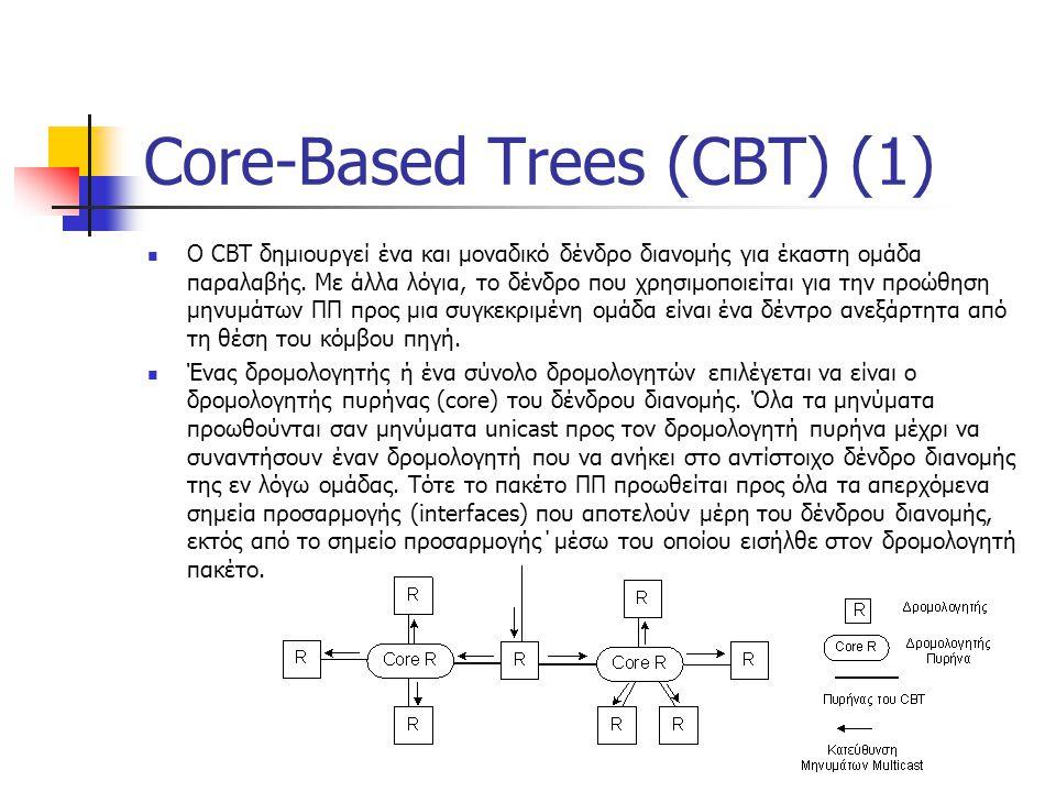 Core-Based Trees (CBT) (1) O CBT δημιουργεί ένα και μοναδικό δένδρο διανομής για έκαστη ομάδα παραλαβής.