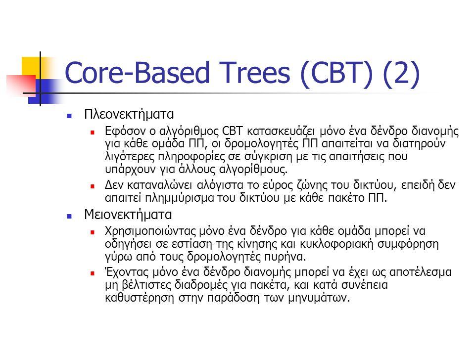 Core-Based Trees (CBT) (2) Πλεονεκτήματα Εφόσον ο αλγόριθμος CBT κατασκευάζει μόνο ένα δένδρο διανομής για κάθε ομάδα ΠΠ, οι δρομολογητές ΠΠ απαιτείται να διατηρούν λιγότερες πληροφορίες σε σύγκριση με τις απαιτήσεις που υπάρχουν για άλλους αλγορίθμους.