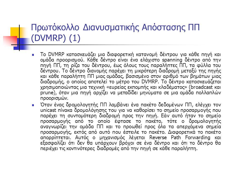 Πρωτόκολλο Διανυσματικής Απόστασης ΠΠ (DVMRP) (1) Το DVMRP κατασκευάζει μια διαφορετική κατανομή δέντρου για κάθε πηγή και ομάδα προορισμού.