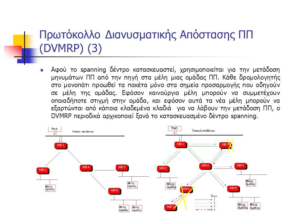 Πρωτόκολλο Διανυσματικής Απόστασης ΠΠ (DVMRP) (3) Αφού το spanning δέντρο κατασκευαστεί, χρησιμοποιείται για την μετάδοση μηνυμάτων ΠΠ από την πηγή στα μέλη μιας ομάδας ΠΠ.