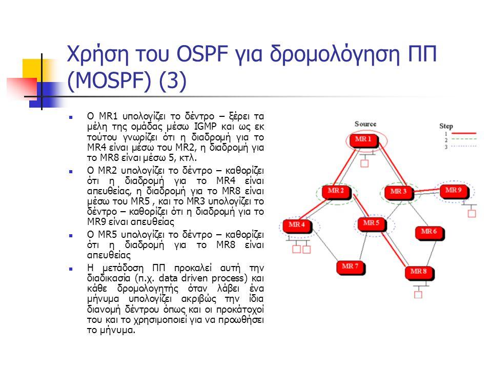 Χρήση του OSPF για δρομολόγηση ΠΠ (MOSPF) (3) Ο MR1 υπολογίζει το δέντρο – ξέρει τα μέλη της ομάδας μέσω IGMP και ως εκ τούτου γνωρίζει ότι η διαδρομή για το MR4 είναι μέσω του MR2, η διαδρομή για το MR8 είναι μέσω 5, κτλ.