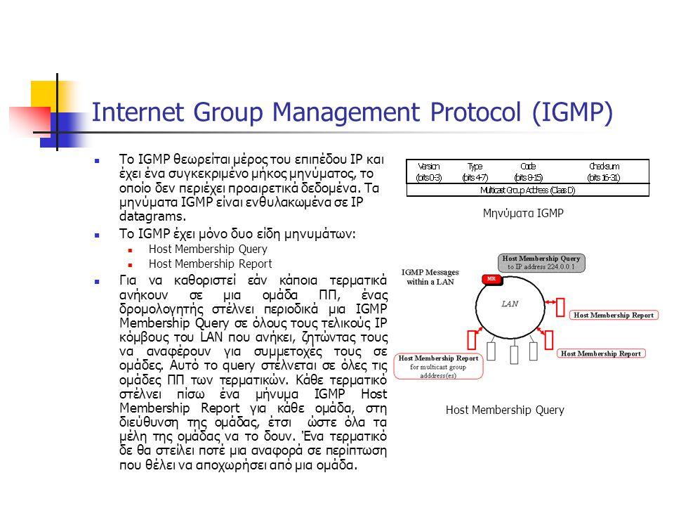 Internet Group Management Protocol (IGMP) Το IGMP θεωρείται μέρος του επιπέδου IP και έχει ένα συγκεκριμένο μήκος μηνύματος, το οποίο δεν περιέχει προαιρετικά δεδομένα.