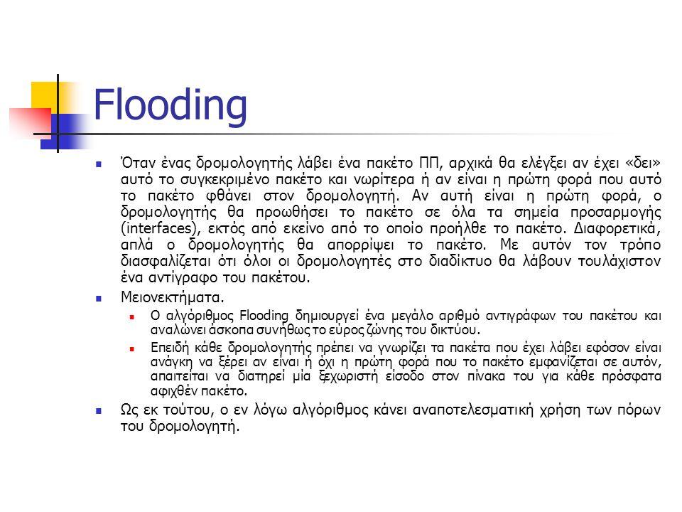Flooding Όταν ένας δρομολογητής λάβει ένα πακέτο ΠΠ, αρχικά θα ελέγξει αν έχει «δει» αυτό το συγκεκριμένο πακέτο και νωρίτερα ή αν είναι η πρώτη φορά που αυτό το πακέτο φθάνει στον δρομολογητή.