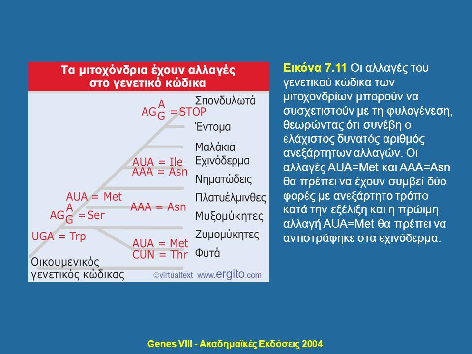 Genes VIII - Ακαδημαϊκές Εκδόσεις 2004 Εικόνα 7.11 Οι αλλαγές του γενετικού κώδικα των μιτοχονδρίων μπορούν να συσχετιστούν με τη φυλογένεση, θεωρώντα