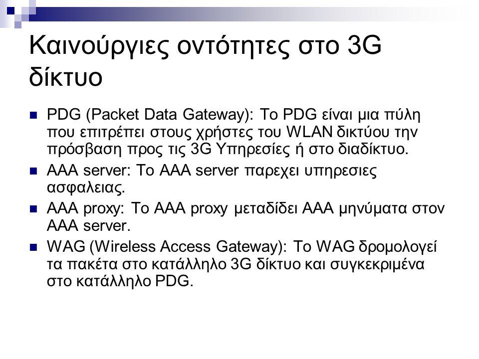 Καινούργιες οντότητες στο 3G δίκτυο PDG (Packet Data Gateway): Το PDG είναι μια πύλη που επιτρέπει στους χρήστες του WLAN δικτύου την πρόσβαση προς τις 3G Υπηρεσίες ή στο διαδίκτυο.