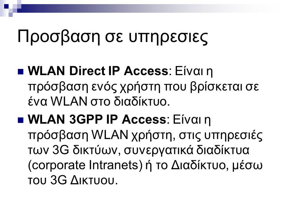 Προσβαση σε υπηρεσιες WLAN Direct IP Access: Είναι η πρόσβαση ενός χρήστη που βρίσκεται σε ένα WLAN στο διαδίκτυο. WLAN 3GPP IP Access: Είναι η πρόσβα
