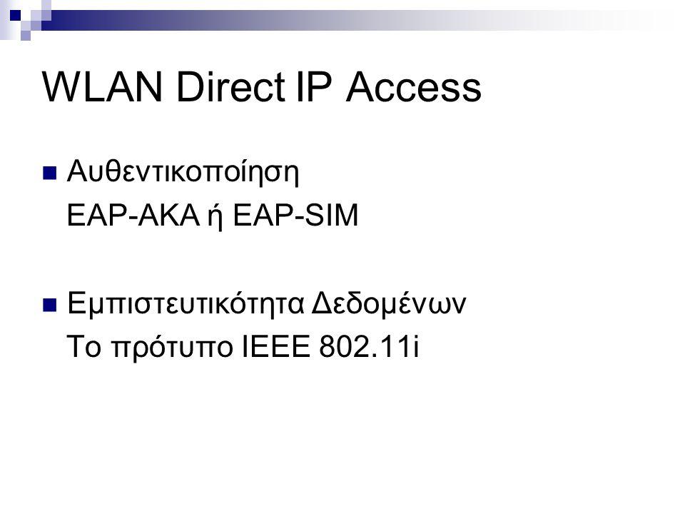 WLAN Direct IP Access Αυθεντικοποίηση EAP-AKA ή EAP-SIM Εμπιστευτικότητα Δεδομένων Το πρότυπο ΙΕΕΕ 802.11i