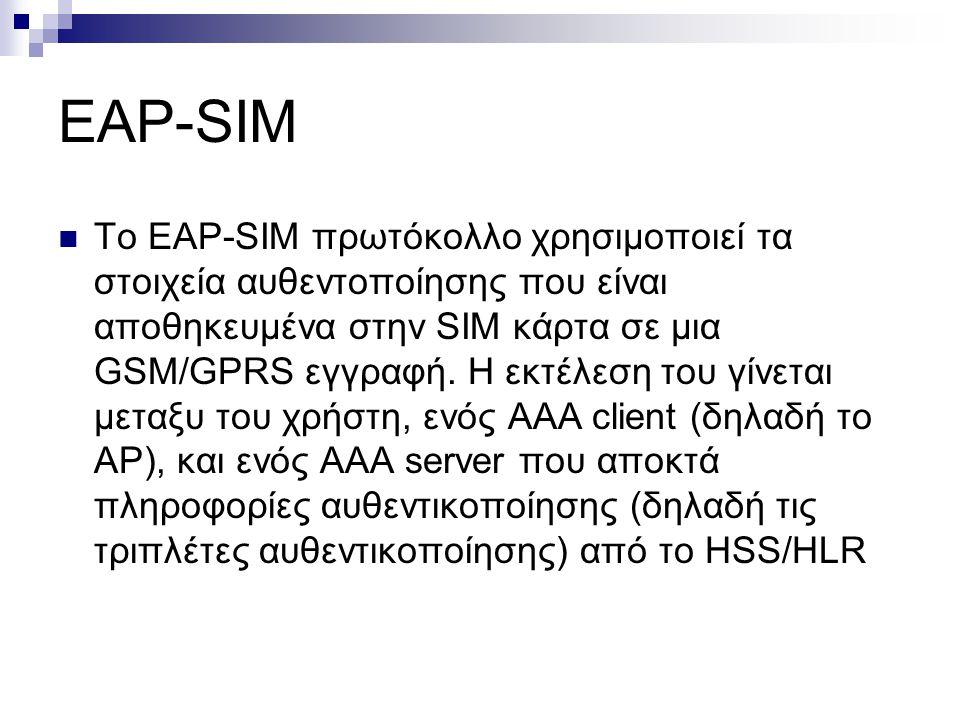 EAP-SIM Το EAP-SIM πρωτόκολλο χρησιμοποιεί τα στοιχεία αυθεντοποίησης που είναι αποθηκευμένα στην SIM κάρτα σε μια GSM/GPRS εγγραφή. Η εκτέλεση του γί