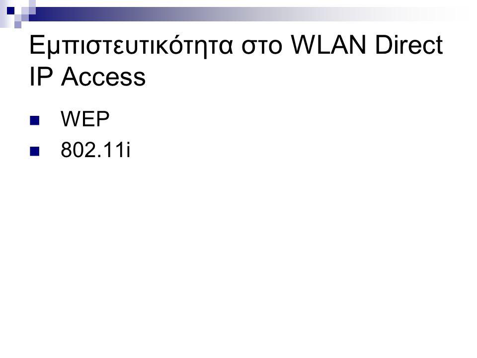 Εμπιστευτικότητα στο WLAN Direct IP Access WEP 802.11i