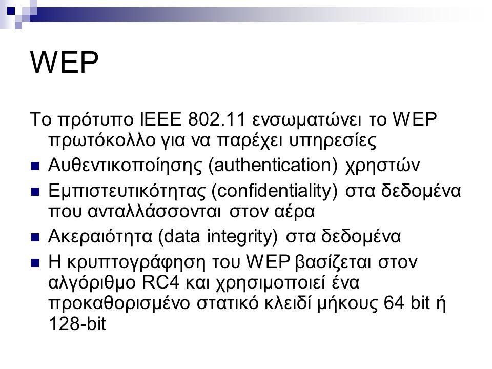 WEP Το πρότυπο ΙΕΕΕ 802.11 ενσωματώνει το WEP πρωτόκολλο για να παρέχει υπηρεσίες Aυθεντικοποίησης (authentication) χρηστών Eμπιστευτικότητας (confidentiality) στα δεδομένα που ανταλλάσσονται στον αέρα Ακεραιότητα (data integrity) στα δεδoμένα Η κρυπτογράφηση του WEP βασίζεται στον αλγόριθμο RC4 και χρησιμοποιεί ένα προκαθορισμένο στατικό κλειδί μήκους 64 bit ή 128-bit