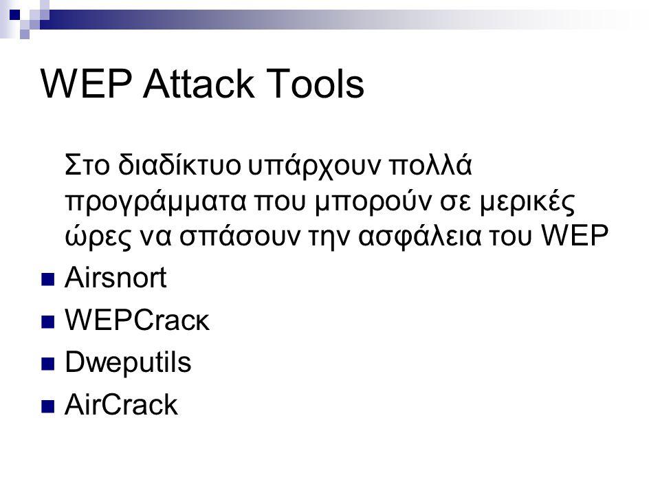 WEP Attack Tools Στο διαδίκτυο υπάρχουν πολλά προγράμματα που μπορούν σε μερικές ώρες να σπάσουν την ασφάλεια του WEP Airsnort WEPCracκ Dweputils AirC