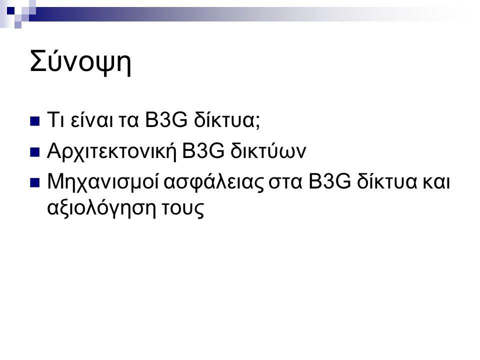 Σύνοψη Τι είναι τα B3G δίκτυα; Αρχιτεκτονική B3G δικτύων Μηχανισμοί ασφάλειας στα B3G δίκτυα και αξιολόγηση τους