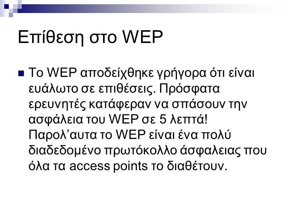 Επίθεση στο WEP Το WEP αποδείχθηκε γρήγορα ότι είναι ευάλωτο σε επιθέσεις. Πρόσφατα ερευνητές κατάφεραν να σπάσουν την ασφάλεια του WEP σε 5 λεπτά! Πα