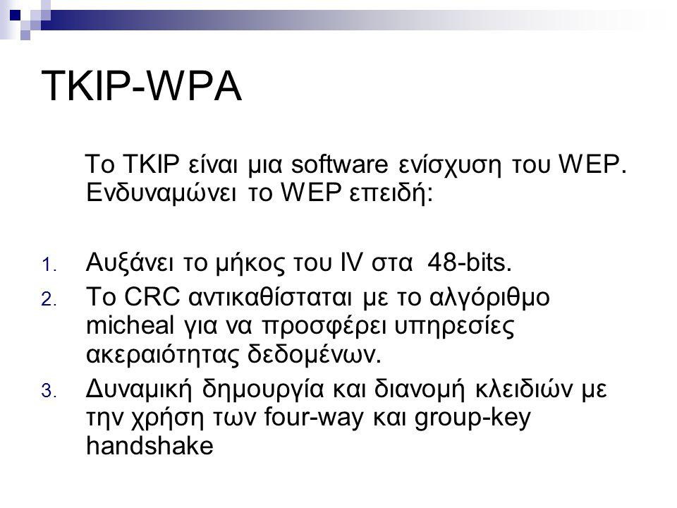 TKIP-WPA To TKIP είναι μια software ενίσχυση του WEP. Ενδυναμώνει το WEP επειδή: 1. Αυξάνει το μήκος του IV στα 48-bits. 2. To CRC αντικαθίσταται με τ