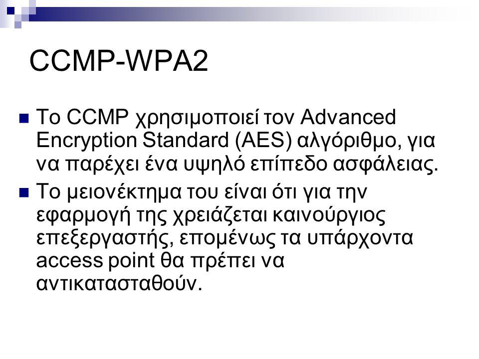 CCMP-WPA2 To CCMP χρησιμοποιεί τον Advanced Encryption Standard (AES) αλγόριθμο, για να παρέχει ένα υψηλό επίπεδο ασφάλειας. To μειονέκτημα του είναι