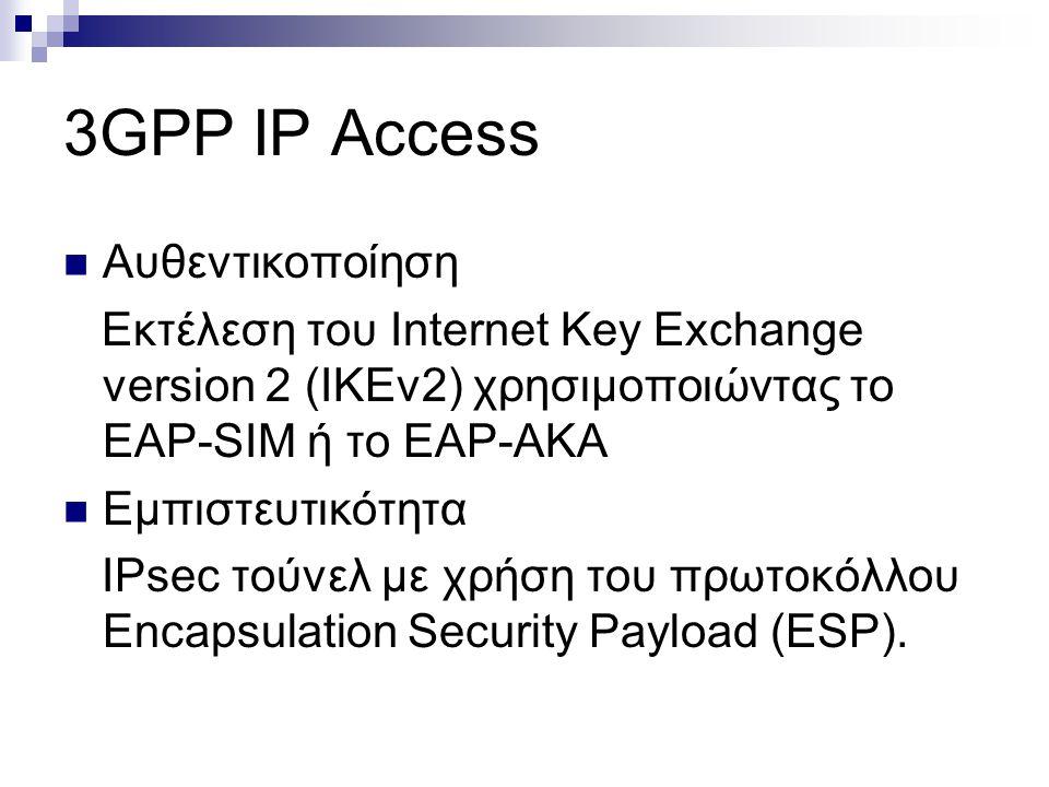 3GPP IP Access Αυθεντικοποίηση Εκτέλεση του Internet Key Exchange version 2 (IKEv2) χρησιμοποιώντας το EAP-SIM ή το EAP-AKA Εμπιστευτικότητα ΙPsec τού