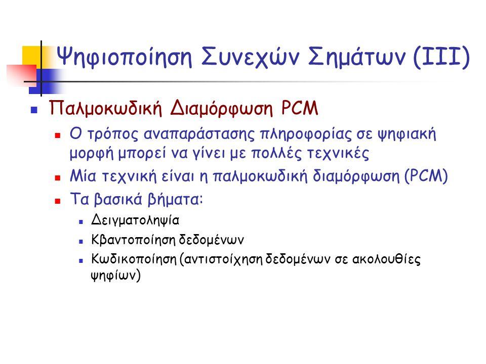 Ψηφιοποίηση Συνεχών Σημάτων (ΙΙΙ) Παλμοκωδική Διαμόρφωση PCM Ο τρόπος αναπαράστασης πληροφορίας σε ψηφιακή μορφή μπορεί να γίνει με πολλές τεχνικές Μί