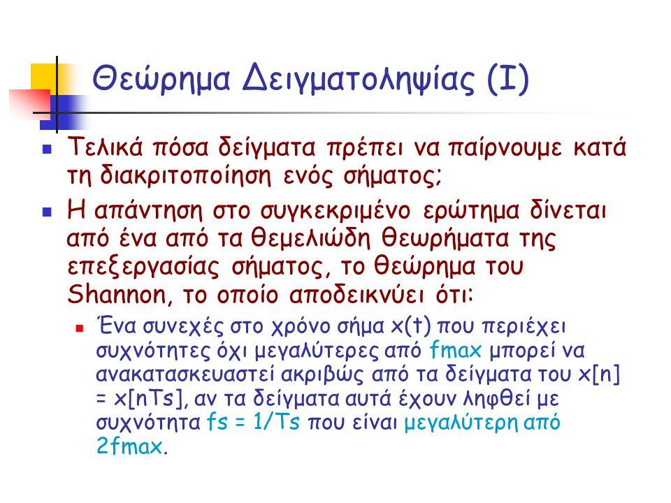 Θεώρημα Δειγματοληψίας (Ι) Τελικά πόσα δείγματα πρέπει να παίρνουμε κατά τη διακριτοποίηση ενός σήματος; Η απάντηση στο συγκεκριμένο ερώτημα δίνεται α