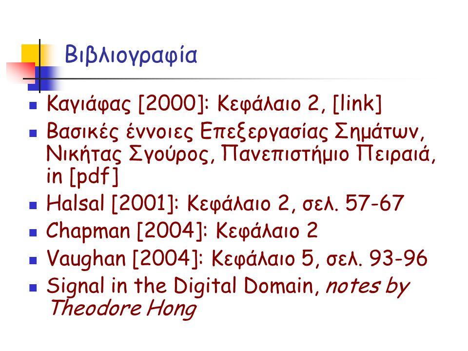 Βιβλιογραφία Καγιάφας [2000]: Κεφάλαιο 2, [link] Βασικές έννοιες Επεξεργασίας Σημάτων, Νικήτας Σγούρος, Πανεπιστήμιο Πειραιά, in [pdf] Halsal [2001]: