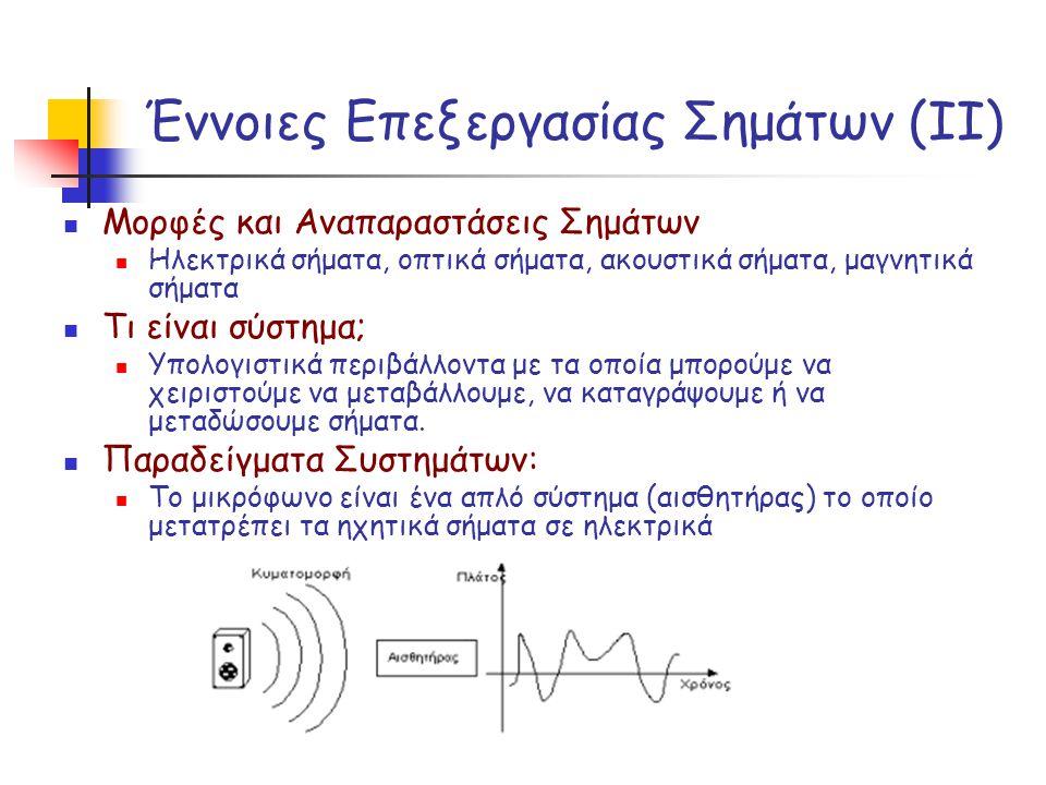 Έννοιες Επεξεργασίας Σημάτων (ΙΙ) Μορφές και Αναπαραστάσεις Σημάτων Ηλεκτρικά σήματα, οπτικά σήματα, ακουστικά σήματα, μαγνητικά σήματα Τι είναι σύστη
