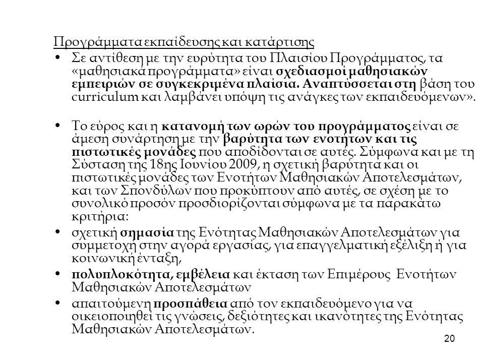 21 4.3 Κοινά σημεία μεθοδολογίας ECVET, Ε.Π.- Curriculum- Προγράμματα-προσόντα Μαθησιακά αποτελέσματα.