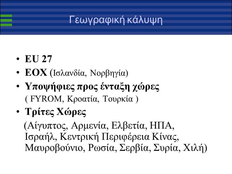 Γεωγραφική κάλυψη ΕU 27 ΕΟΧ ( Ισλανδία, Νορβηγία) Υποψήφιες προς ένταξη χώρες ( FYROM, Κροατία, Τουρκία ) Τρίτες Χώρες (Αίγυπτος, Αρμενία, Ελβετία, ΗΠΑ, Ισραήλ, Κεντρική Περιφέρεια Κίνας, Μαυροβούνιο, Ρωσία, Σερβία, Συρία, Χιλή)