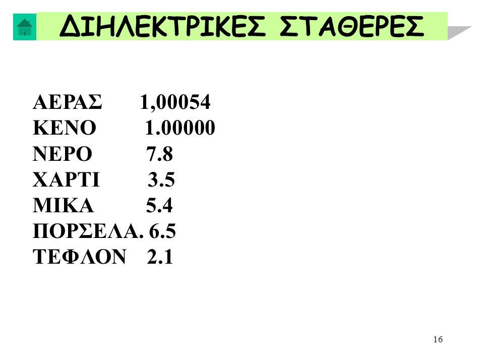 16 ΔΙΗΛΕΚΤΡΙΚΕΣ ΣΤΑΘΕΡΕΣ ΑΕΡΑΣ 1,00054 ΚΕΝΟ 1.00000 ΝΕΡΟ 7.8 ΧΑΡΤΙ 3.5 ΜΙΚΑ 5.4 ΠΟΡΣΕΛΑ. 6.5 ΤΕΦΛΟΝ 2.1