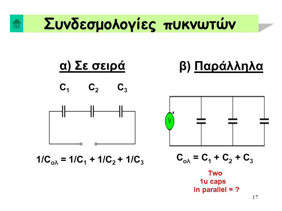 17 Συνδεσμολογίες πυκνωτών α) Σε σειρά C1C1 C2C2 C3C3 1/C ολ = 1/C 1 + 1/C 2 + 1/C 3 β) Παράλληλα C ολ = C 1 + C 2 + C 3