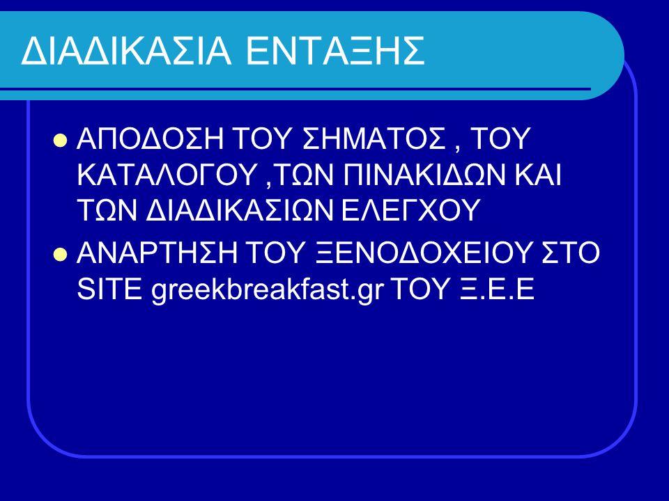 ΔΙΑΔΙΚΑΣΙΑ ΕΝΤΑΞΗΣ ΑΠΟΔΟΣΗ ΤΟΥ ΣΗΜΑΤΟΣ, ΤΟΥ ΚΑΤΑΛΟΓΟΥ,ΤΩΝ ΠΙΝΑΚΙΔΩΝ ΚΑΙ ΤΩΝ ΔΙΑΔΙΚΑΣΙΩΝ ΕΛΕΓΧΟΥ ΑΝΑΡΤΗΣΗ ΤΟΥ ΞΕΝΟΔΟΧΕΙΟΥ ΣΤΟ SITE greekbreakfast.gr ΤΟ