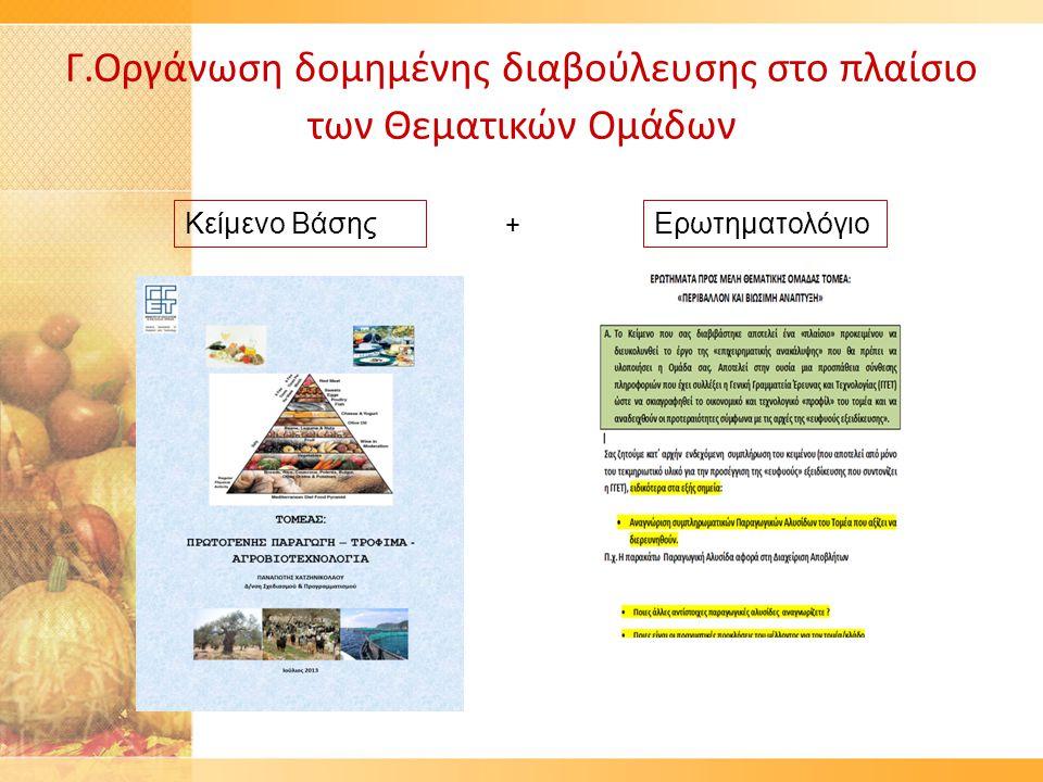 Γ.Οργάνωση δομημένης διαβούλευσης στο πλαίσιο των Θεματικών Ομάδων Κείμενο ΒάσηςΕρωτηματολόγιο +