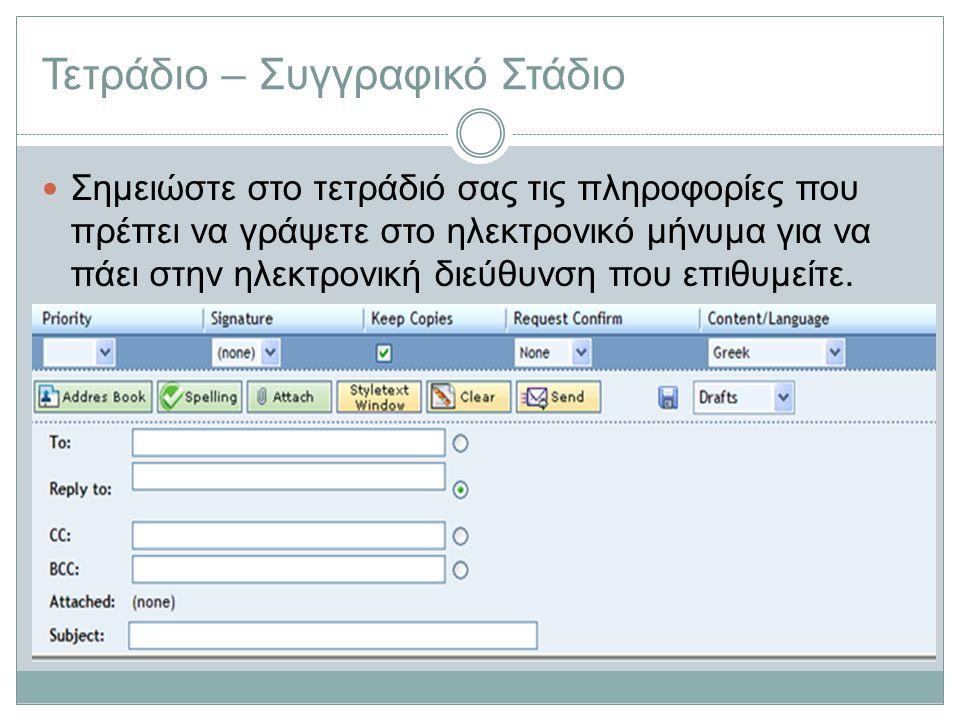 Τετράδιο – Συγγραφικό Στάδιο Σημειώστε στο τετράδιό σας τις πληροφορίες που πρέπει να γράψετε στο ηλεκτρονικό μήνυμα για να πάει στην ηλεκτρονική διεύ