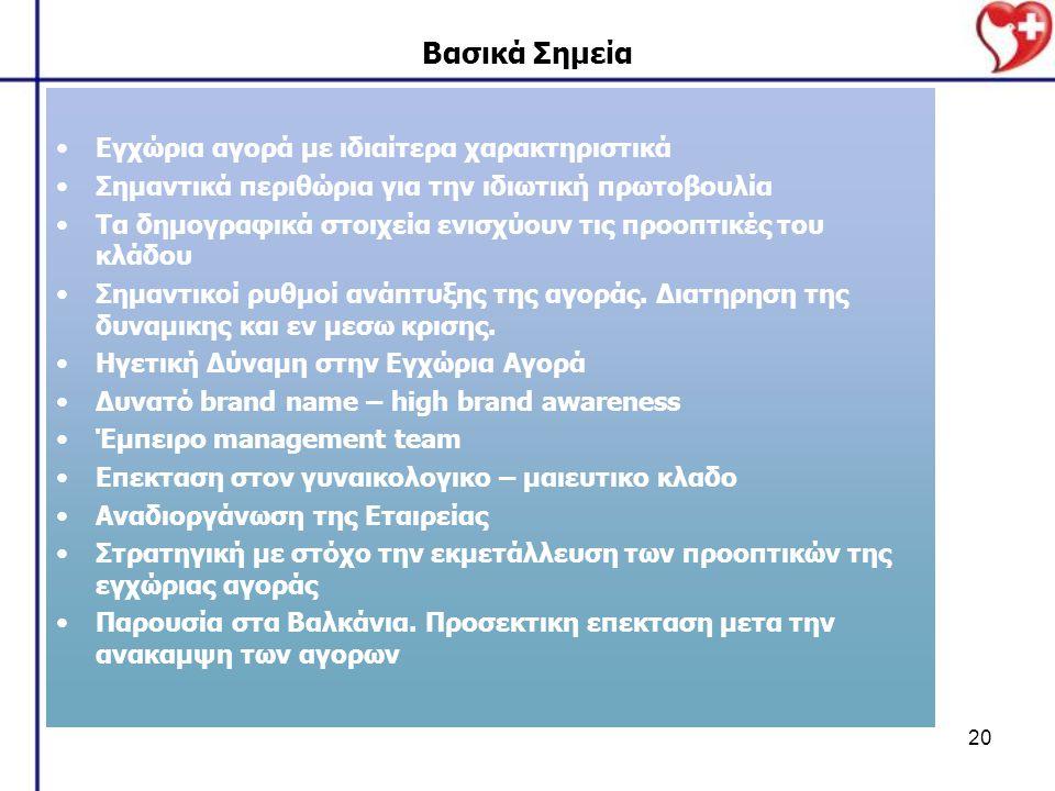 20 Βασικά Σημεία Εγχώρια αγορά με ιδιαίτερα χαρακτηριστικά Σημαντικά περιθώρια για την ιδιωτική πρωτοβουλία Τα δημογραφικά στοιχεία ενισχύουν τις προοπτικές του κλάδου Σημαντικοί ρυθμοί ανάπτυξης της αγοράς.