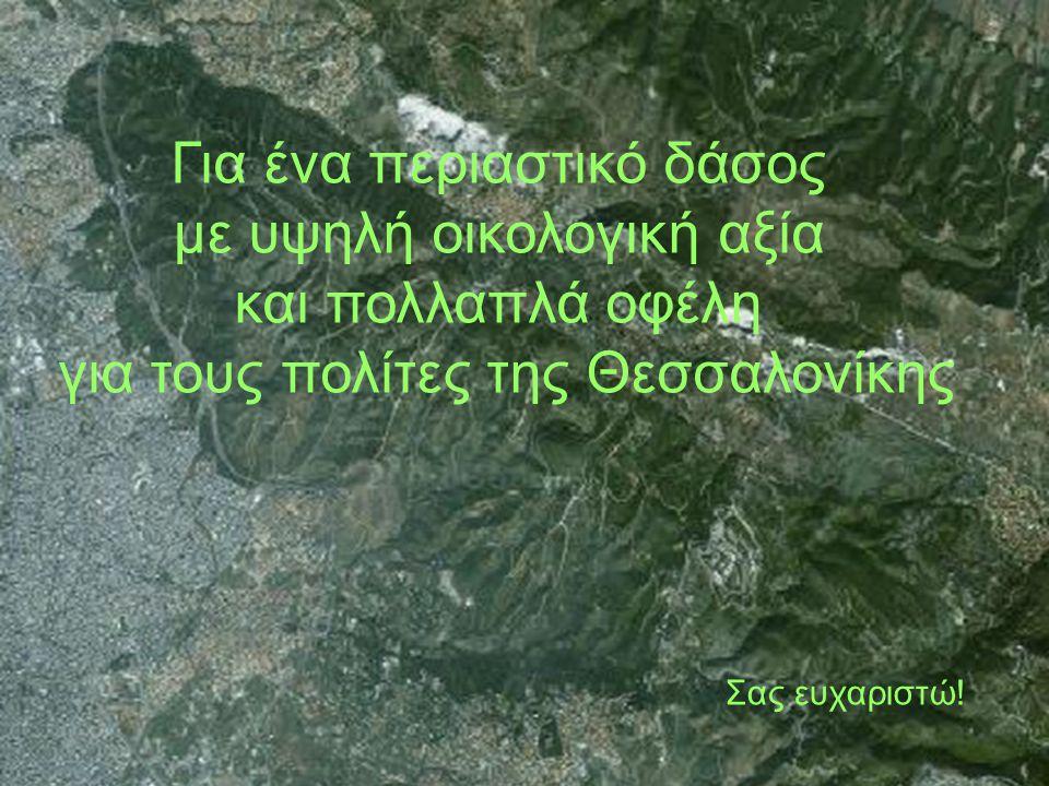 Για ένα περιαστικό δάσος με υψηλή οικολογική αξία και πολλαπλά οφέλη για τους πολίτες της Θεσσαλονίκης Σας ευχαριστώ!