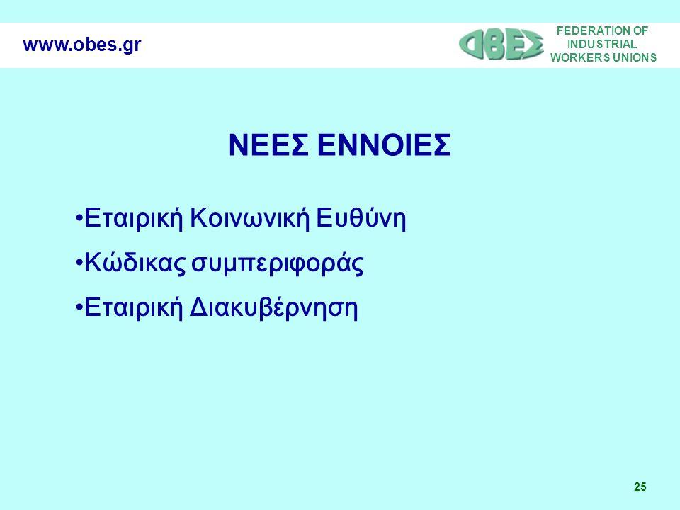 FEDERATION OF INDUSTRIAL WORKERS UNIONS 25 www.obes.gr Εταιρική Κοινωνική Ευθύνη Κώδικας συμπεριφοράς Εταιρική Διακυβέρνηση ΝΕΕΣ ΕΝΝΟΙΕΣ