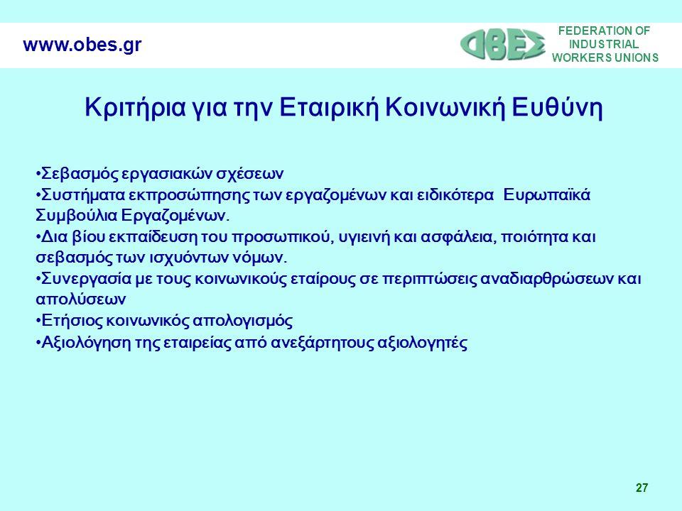 FEDERATION OF INDUSTRIAL WORKERS UNIONS 27 www.obes.gr Σεβασμός εργασιακών σχέσεων Συστήματα εκπροσώπησης των εργαζομένων και ειδικότερα Ευρωπαϊκά Συμβούλια Εργαζομένων.