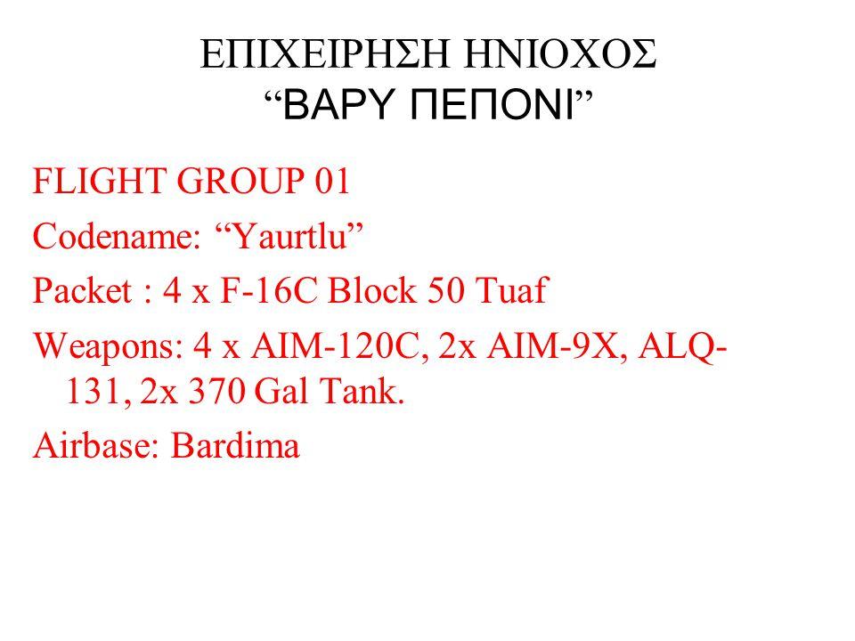 """ΕΠΙΧΕΙΡΗΣΗ ΗΝΙΟΧΟΣ """" ΒΑΡΥ ΠΕΠΟΝΙ """" FLIGHT GROUP 01 Codename: """"Yaurtlu"""" Packet : 4 x F-16C Block 50 Tuaf Weapons: 4 x AIM-120C, 2x AIM-9X, ALQ- 131, 2x"""