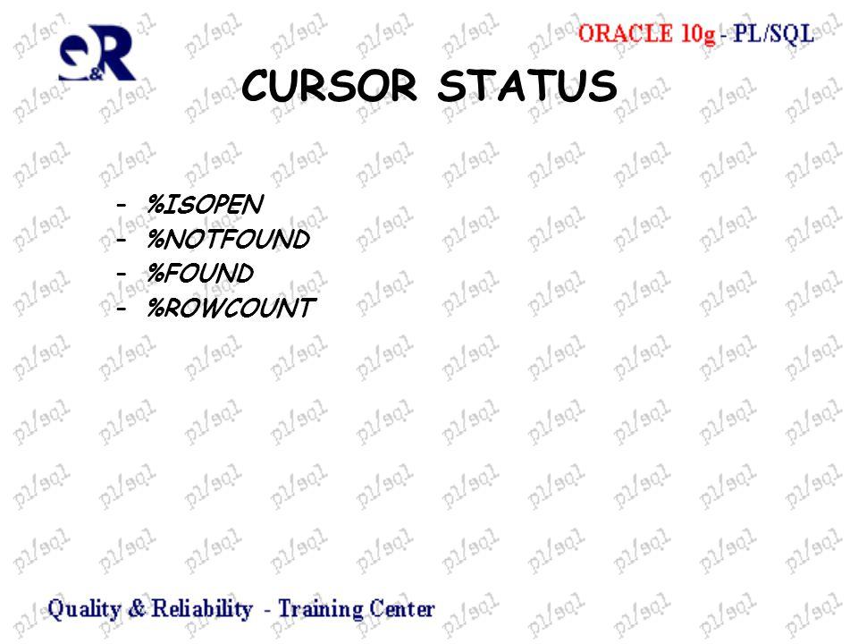 CURSOR STATUS –%ISOPEN –%NOTFOUND –%FOUND –%ROWCOUNT