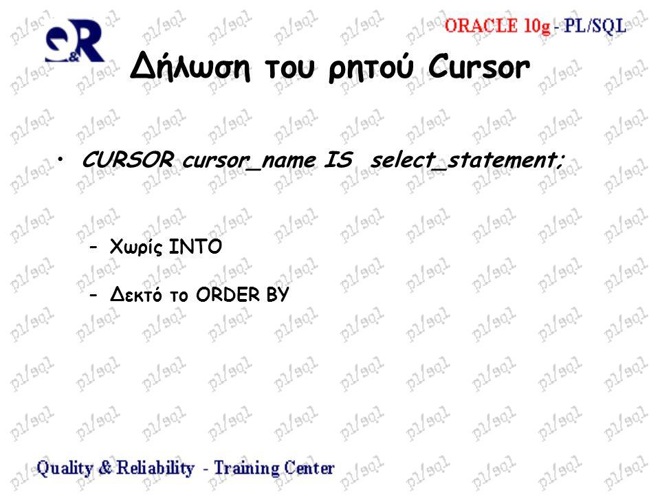 Δήλωση του ρητού Cursor CURSOR cursor_name IS select_statement; –Χωρίς ΙΝΤΟ –Δεκτό το ORDER BY