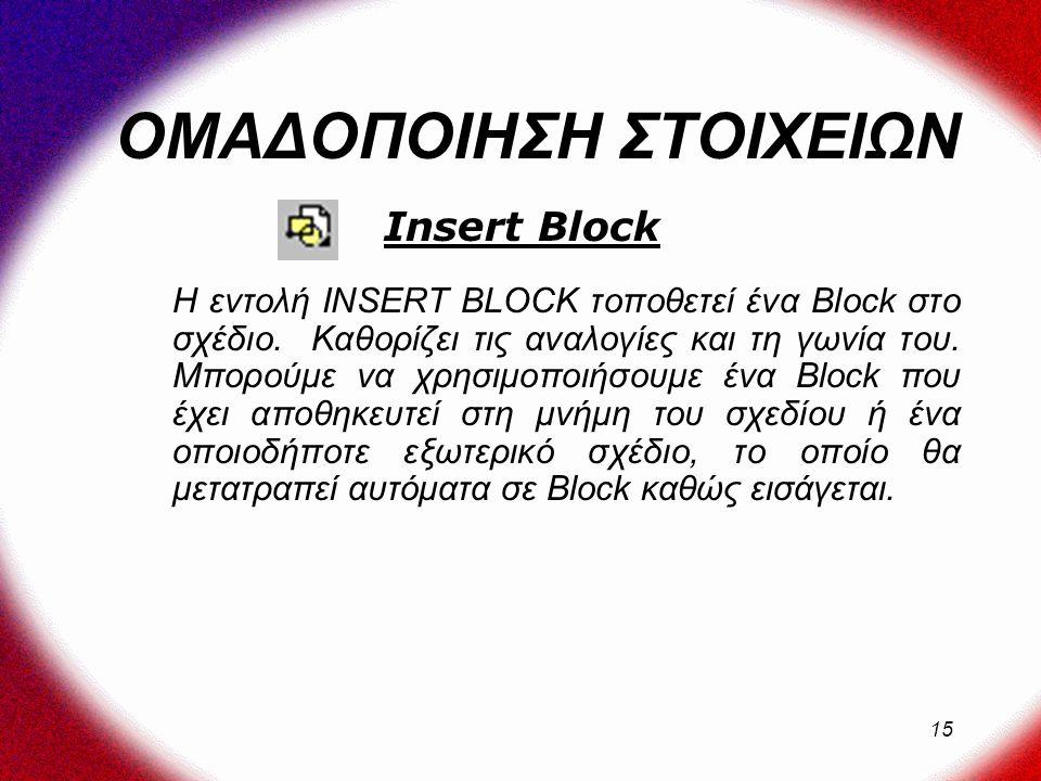 15 ΟΜΑΔΟΠΟΙΗΣΗ ΣΤΟΙΧΕΙΩΝ Η εντολή INSERT BLOCK τοποθετεί ένα Block στο σχέδιο.