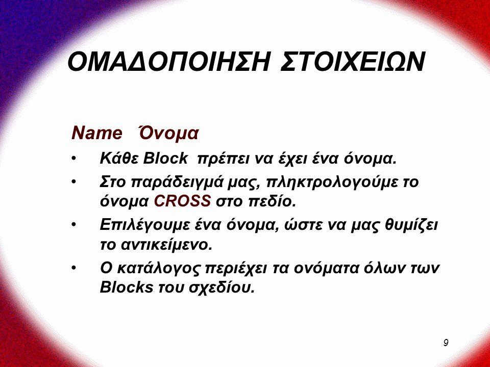 9 Name Όνομα Κάθε Block πρέπει να έχει ένα όνομα.