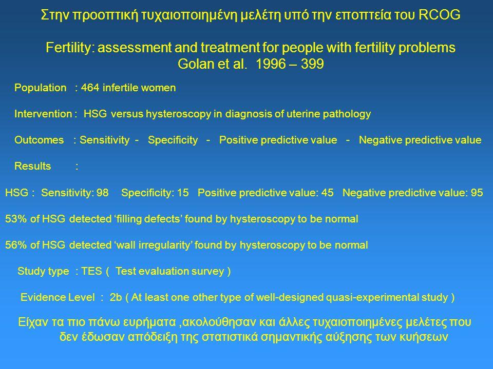 Στην προοπτική τυχαιοποιημένη μελέτη υπό την εποπτεία του RCOG Fertility: assessment and treatment for people with fertility problems Golan et al.
